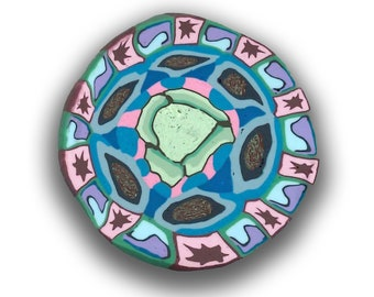 Polymer Clay Cane, Cosmc Cabbage  Mandala Silly Milly