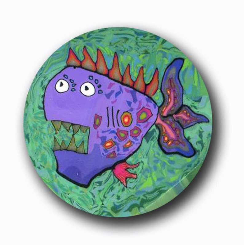 Perry the Piranha Polymer Clay Cane Silly Milly