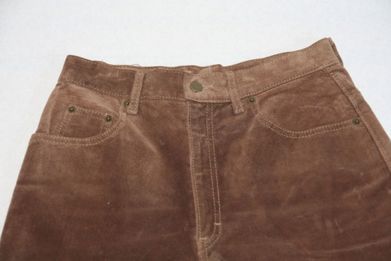 Vintage Upcycled Brown Suede Jean Shorts- Size 29… - image 1