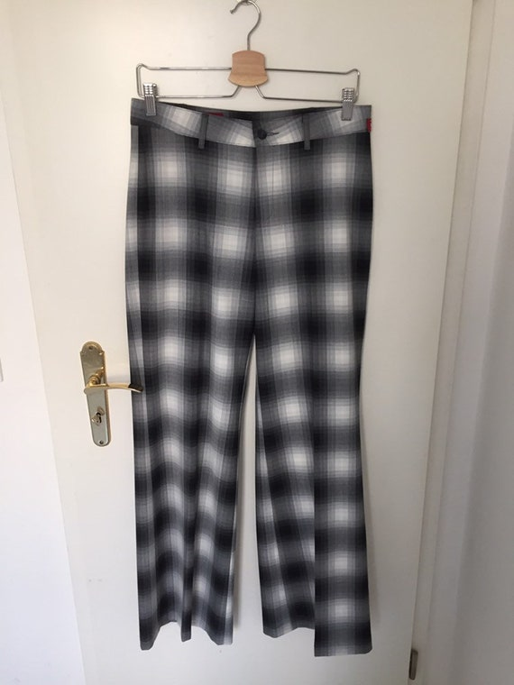 Cool Vintage 90's Plaid Wide-Legged Trousers- Size