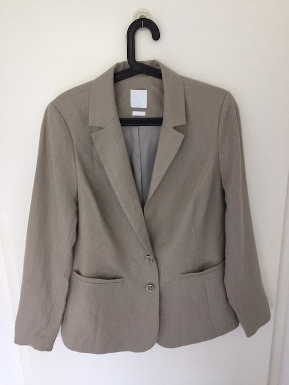 Chic 90's Beige Linen Blazer- Size M
