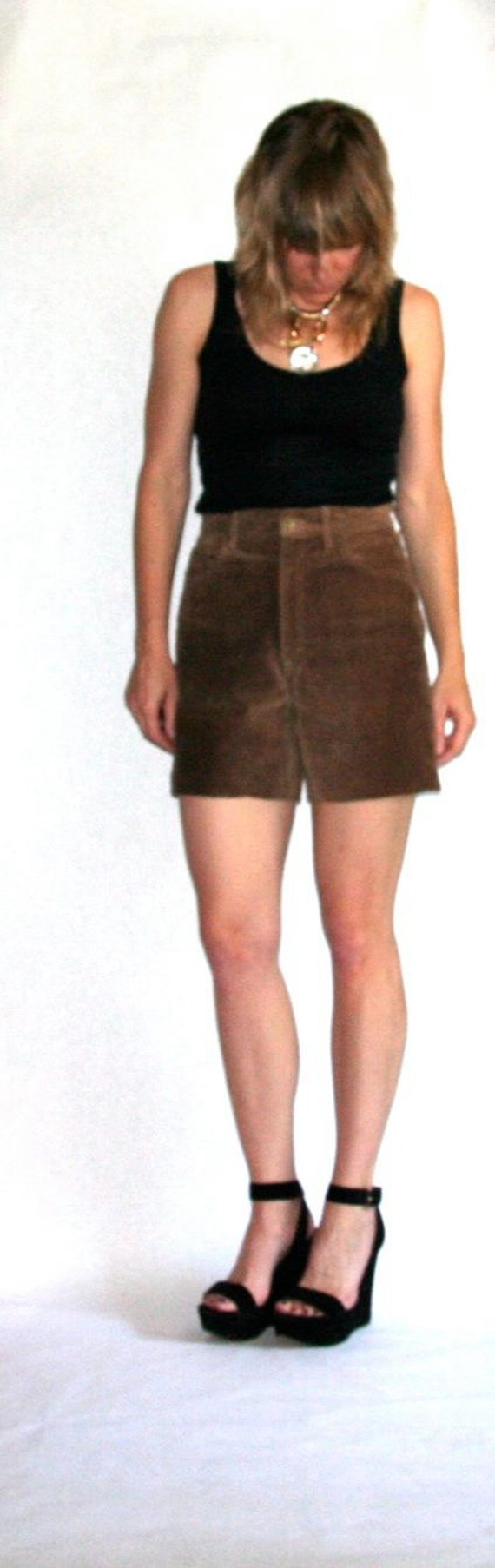 Vintage Upcycled Brown Suede Jean Shorts- Size 29… - image 2