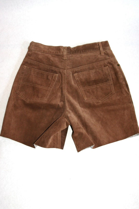 Vintage Upcycled Brown Suede Jean Shorts- Size 29… - image 5