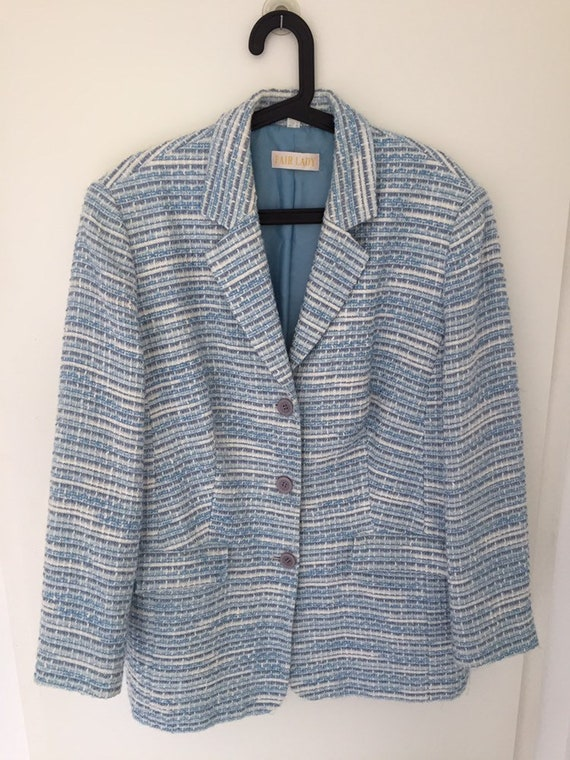 Lovely Light Blue Vintage 80's Jersey Knit Blazer-