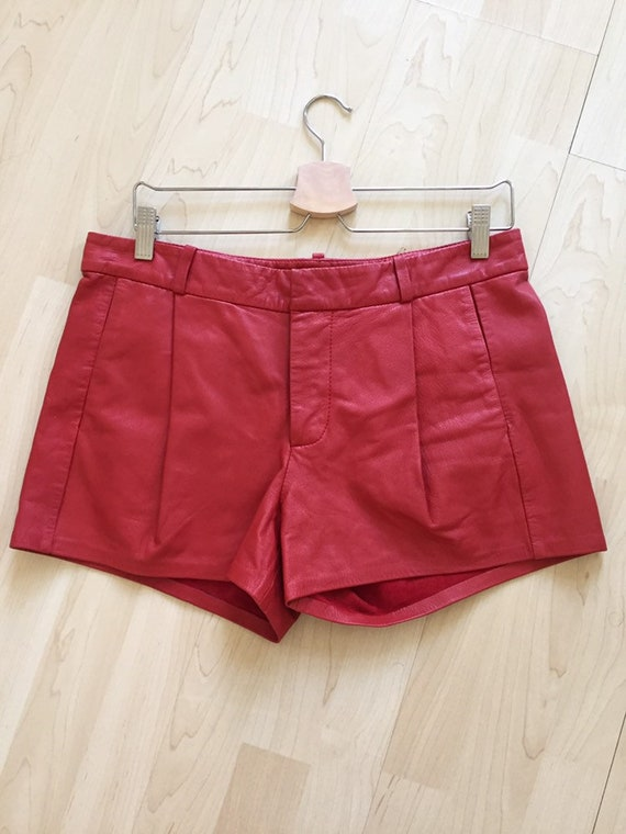 Vintage Red Hot Leather Hot Pants- Size 27