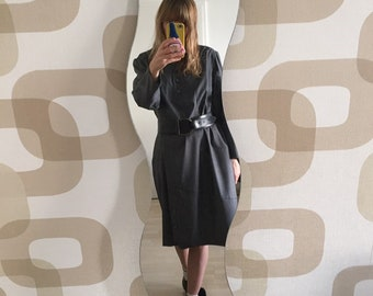Cool 80's Gray Plaid Suiting Wool Hand Made Oversized Dress- Size M/L
