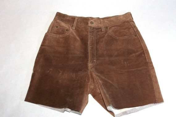 Vintage Upcycled Brown Suede Jean Shorts- Size 29… - image 3