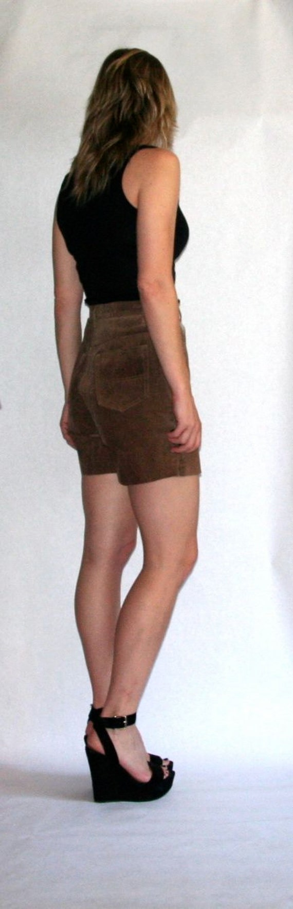 Vintage Upcycled Brown Suede Jean Shorts- Size 29… - image 4