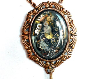 Victorian Steampunk Style Brooch Pendant with Resin Cabochon Watch Gears Oxidized Brass Pin or Necklace Brass Chain Pin0066 by Robin Delargy