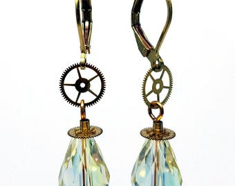 Feminine Steampunk Earrings ~ Faceted Pale Yellow AB Crystal Teardrops with Brass Watch Parts and Gears on Brass Leverback Ear Wires, #E0912