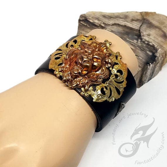 Gothic Steampunk Roaring Lion Cuff ~ Espresso Brown Leather & Rainbow Patina Brass ~ Two Snap Adjustable Cuff ~ Fits to 8 Inch Wrist #B0179