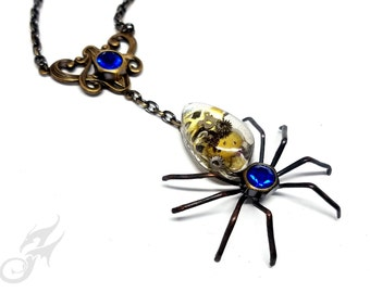 Victorian Steampunk Spider Necklace ~ Dark Brass ~ Resin Cabochon w/ Watch Gears, Blue Rhinestones in Hex Nut Settings, Brass Chain #N0683