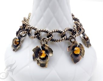 Brass Leaf Charm Bracelet ~ Riveted Brass Leaves w/ Prong Set Topaz Rhinestone Cabochons on Vintage Rope Patterned Brass Curb Chain ~ #B0095