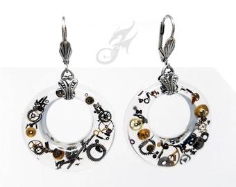 Industrial STEAMPUNK Filled Hoop Earrings Gearrings, Resin Donuts w/ Gears & Watch Bits on Brass Leverback Earwires, Mod Steampunk, #E0895