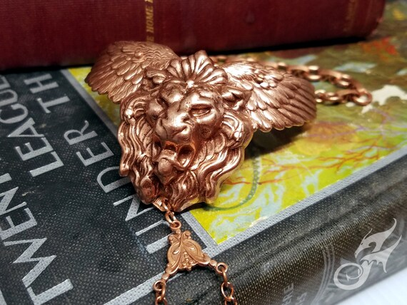 Winged Lion Slave Bracelet ~ Rose Gold Copper Plated Brass, Solid Copper Chain ~ Mythical Fantasy Victorian Steampunk Roaring Lion ~ #B0147