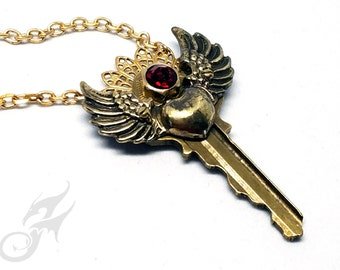 Steampunk Key Necklace w/ Winged Heart & Red Rhinestone in Hex Nut Setting ~ Brass Filigree ~ Repurposed Key #N0669 by Robin Taylor Delargy