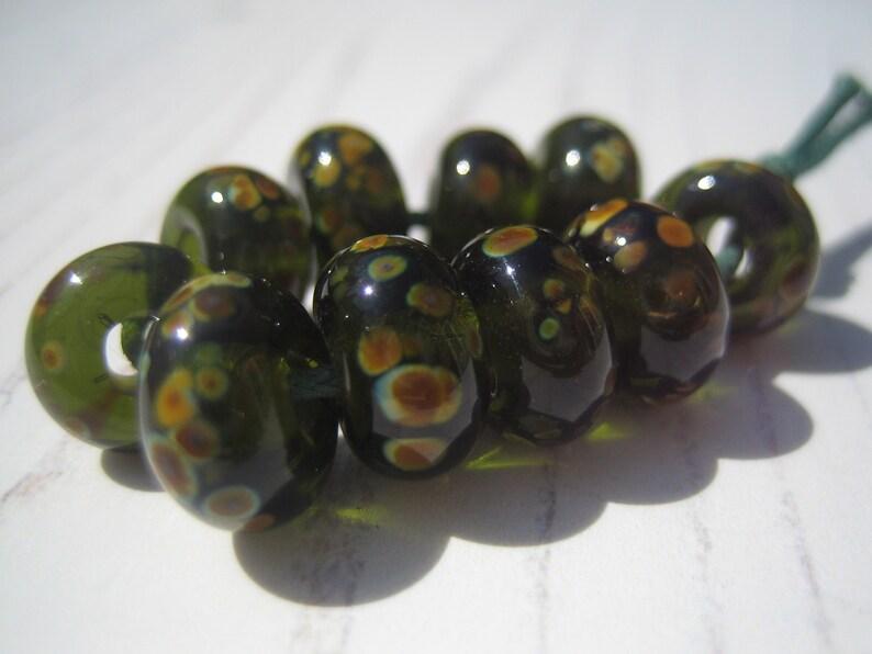 UK Lampwork Dark Olive Raku Lampwork Glass Beads SRA