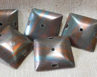 Vintage Copper Plated Steel Square Domed Connectors (6) Dapped, Natural Patina