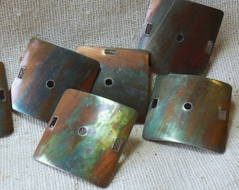 Vintage Copper Plated Steel Square Curved Connectors (6) Dapped, Natural Patina
