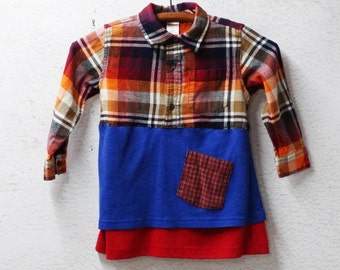 Flannel Upcycled Clothing Children's Dress, Eco Fashion, Flannel Dress, 3T, Upcycled Children's Clothing