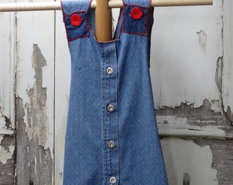 Girls Cross Back Pinafore Apron Size 4T Upcycled Children's Clothing Childrens Clothing
