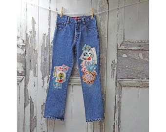 Size 9-10 Children's Hippy Jeans, Upcycled Clothing for Children, Jackalope Jeans, Children's Wearable Art Jeans
