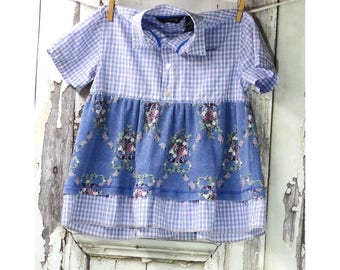 Little Girls Tunic Top, Children's Upcycled Clothing, Size 6, Girl's Top, Gypsy Top,