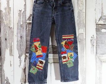 Children's Upcycled Jeans, Quilt Maker's Gift Jeans, Girls Jeans, Boys Jeans, Size 7 Slim Jeans, Upcycled Denim