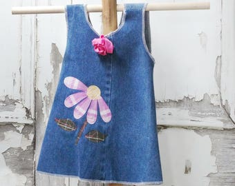 Girls Denim Cross Back Pinafore Apron Top Upcycled Clothing 18 months Children's Clothing