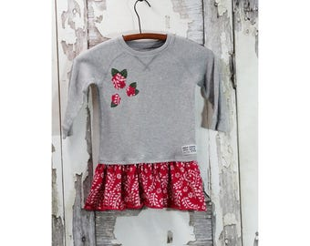 3T Girls Upcycled Clothing,Girls Tunic Dress,Eco Fashion,Children's Clothing, Toddler Top