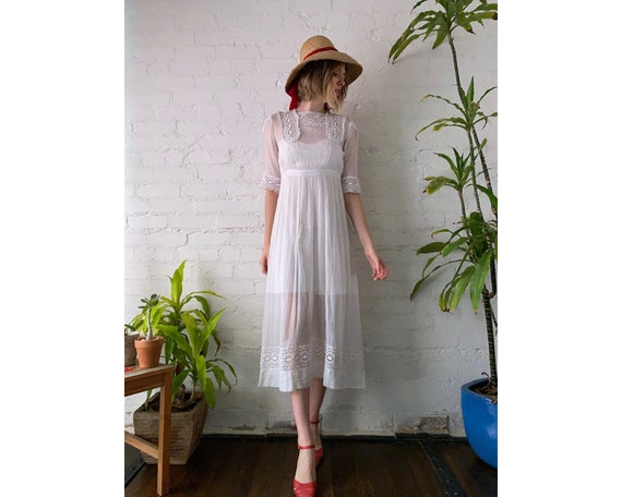 Vintage White Cotton Victorian Dress with Crochet