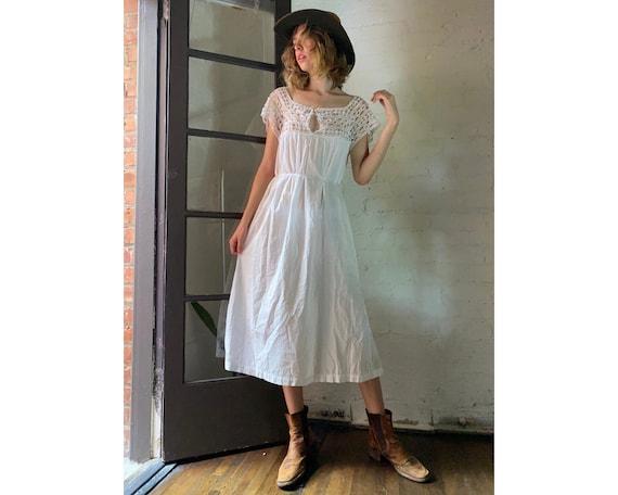 Vintage White Cotton Victorian Nightgown Dress wit