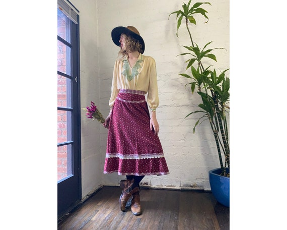 Vintage Gunne Sax Jessica's Gunnies Red Cotton Flo