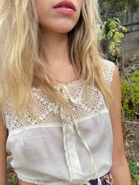 Vintage Silk Victorian Chemise Blouse with Croche… - image 6