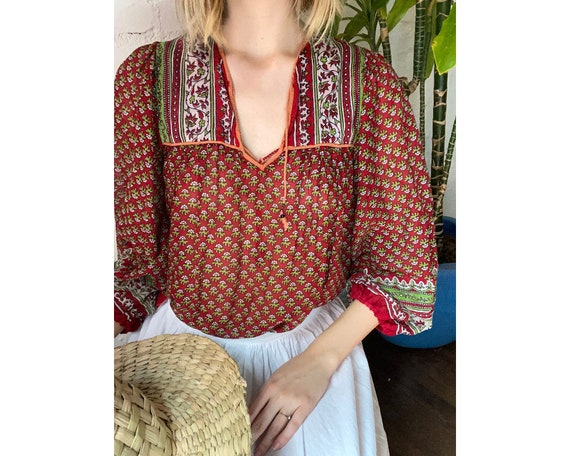 Vintage Indian Cotton Red and Green Floral Block P