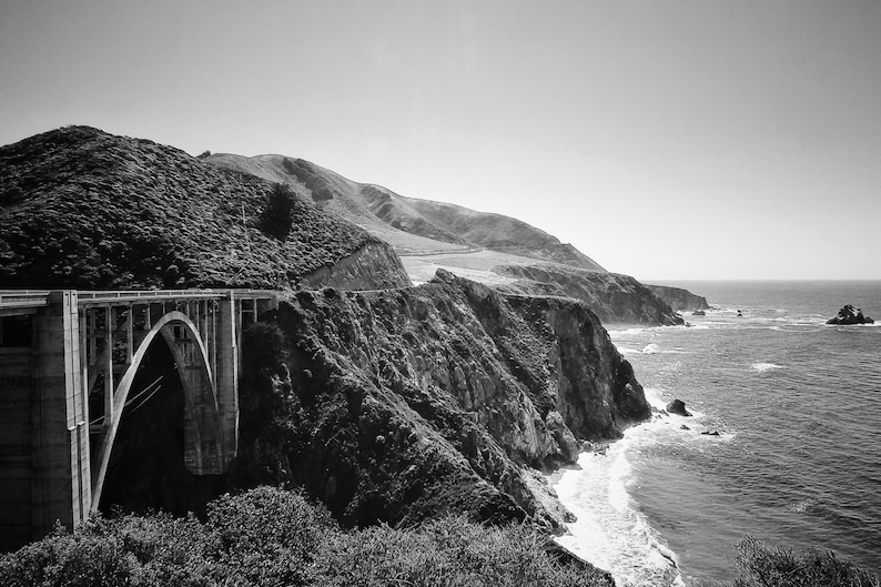 Fine Art photography, Bixby Bridge, PCH, Pacific Coast Highway, California,  black and white, vintage, 8x12
