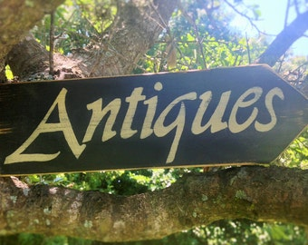 11.5x4 ANTIQUES (Choose Color) Shabby Chic Sign
