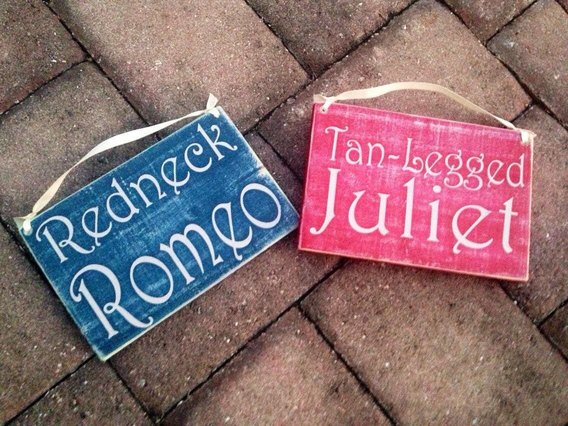 8x6 HIS HERS Redneck Romeo Tan Leg Juliet Custom Wood Signs