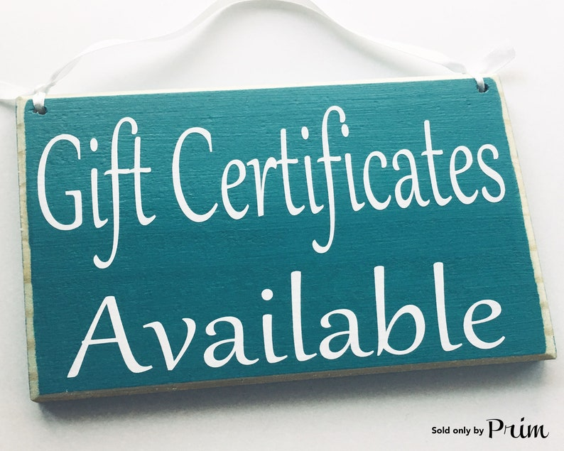 8x6 Gift Certificates Available Custom Wood Sign Store Shop Etsy