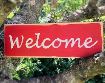 10x4 Welcome (Choose Color) Shabby Chic Sign