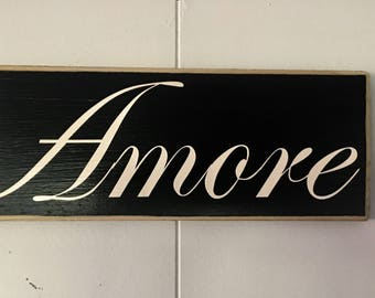 AMORE 10x4 (Choose Color) Italian Love Rustic Shabby Chic Sign Anniversary Wedding Home Door Wall Welcome Hanger