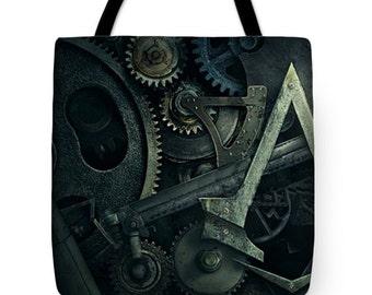 Gear Head Steampunk Tote Bag
