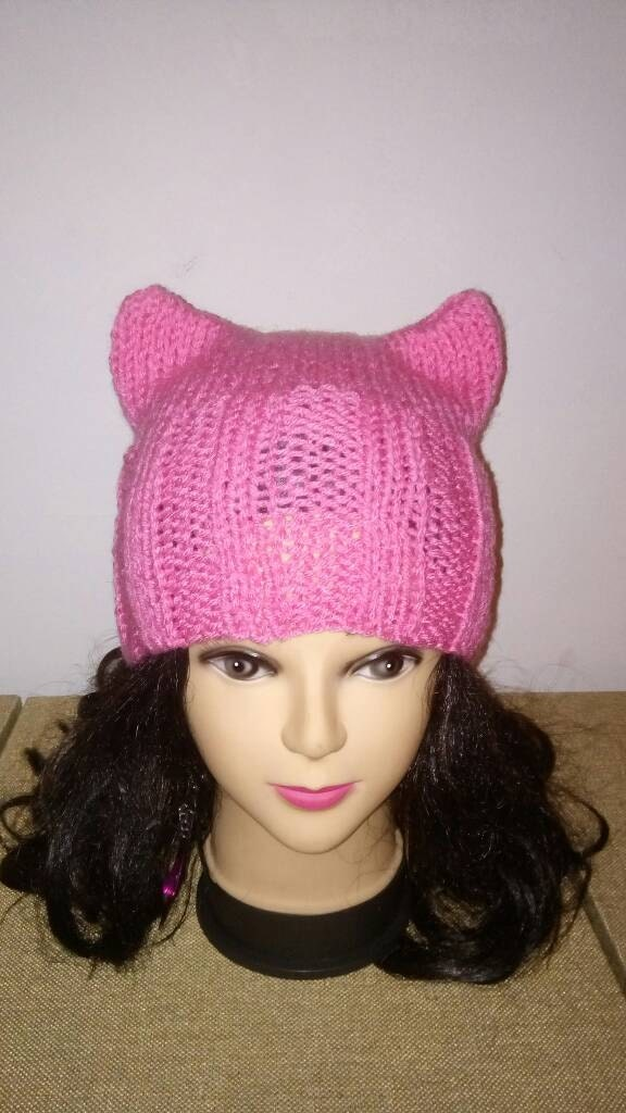 Pink Cat Ears Beanie Hat Pussycat Beanie Catears Hatpussy Etsy