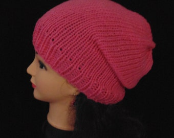 Pink Knit Slouchy Knit Beanie Hat, Slouchie Beanie, Pink Hat