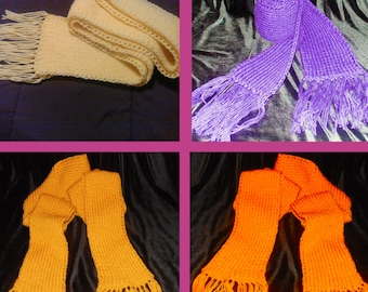 Custom Color Ribbed Scarf with Fringes, Chunky Scarf, Long Ribbed Scarf, MADE TO ORDER