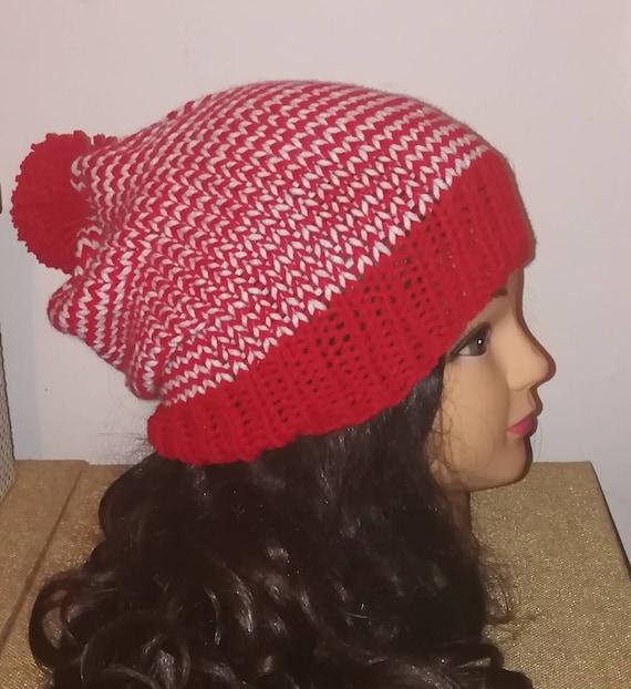30ce6866a1b Red and White Striped Beanie With Pom Pom Santa Christmas