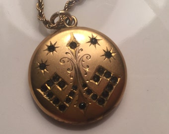 Art deco gold filled locket with rhinestones