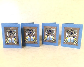4 Unique Assorted Christmas Cards with my version of Parol hanging on a window