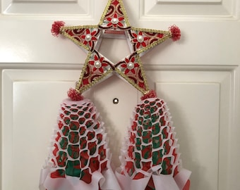 Ready to Ship Handcrafted 12x21 inches Filipino Christmas Parol. Made with Bamboo and Fabric