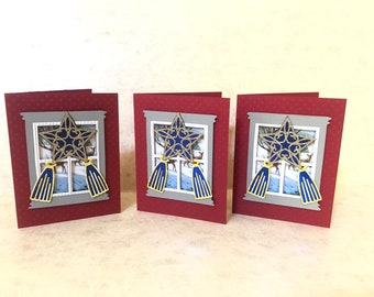 3 Unique Assorted Christmas Cards with my version of Parol hanging on a window